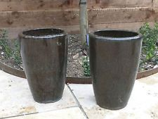 Outdoor Pottery Pots For Plants | Pair Of Tall Black Ceramic Plant Pots