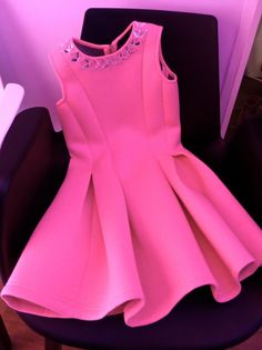 Pink neon sculptural party dress for Holiday 2014 girlswear at River Island
