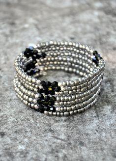 Hey, I found this really awesome Etsy listing at https://www.etsy.com/listing/220137475/gunmetal-silver-black-boho-wrap-bracelet