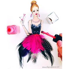 Weekend cocktail time by Houston fashion illustrator Rongrong DeVoe. More fashion sketches at www.rongrongdevoe.com #fashionillustration