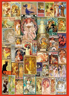 Art Nouveau Poster Collage by MGL - High quality British made wooden jigsaws with unique whimsy pieces, direct from Wentworth Wooden Puzzles.