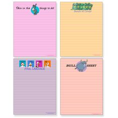 Funny, grown-up humor, cartoon notepads. They will put a smile on your face!  Set of 4.