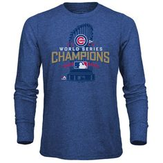 Chicago Cubs Majestic Threads 2016 World Series Champions Locker Room Tri-Blend Long Sleeve T-Shirt - Royal