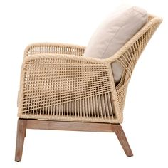Luca Sand Woven Rope Club Chair Side View