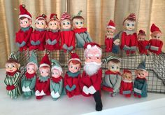 Huge Lot of 19 Knee Hugger Elves Elf pixie Vintage Christmas Ornaments Japan