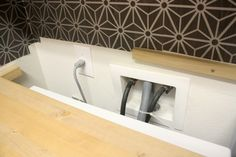 DIY built in washer + dryer - Crazy Wonderful - DIY built in washer + dryer – Crazy Wonderful - Laundry Room Countertop, Laundry Room Bathroom, Small Laundry Rooms, Laundry Closet, Laundry Room Organization, Laundry Storage, Bath Room, Laundry Room Layouts, Laundry Room Remodel
