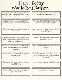 Harry Potter Would-You-Rather Jenga
