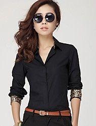 camisa blanca / negro, cuello en v de trabajo brazalete de leopardo de manga larga sólido de las mujeres
