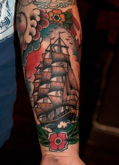 I am completely addicted to the thought of a half sleeve tattoo revolving around a ship :)