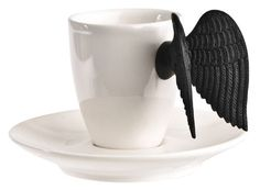 A porcelain espresso cup with black silicone wings that come together as you gently squeeze them. As tempting as a fallen angel. UPDATE: I stumbled upon the cup in a store recently and while the silicone wings are cute, the grip leaves you feeling a little unsure of whether you'll be drinking your coffee or wearing it. Shame.