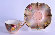Hadley Worcester rare coffee cup and saucer painted