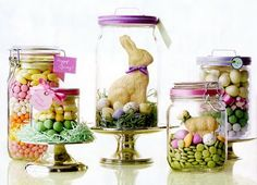 What a wonderful idea for a fresh take on the traditional Easter basket... or even just a special something extra to put in it. I just love these Mason jars filled with Easter treats!