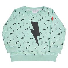Cool Kid Sweatshirt - Lightning Bolt Pale Green - Scamp and Dude