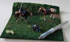 騎乗北軍騎兵+先住民追走員  1/35 ジオラマ