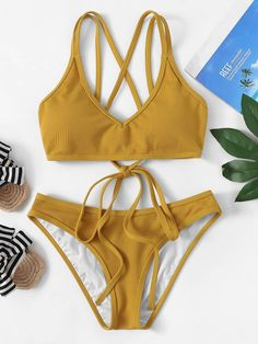Shop Criss Cross Top With Ribbed Bikini Set online. SHEIN offers Criss Cross Top With Ribbed Bikini Set & more to fit your fashionable needs. Bikini Swimwear, Thong Bikini, Swimsuits, Women's Bikinis, Swimwear Fashion, Criss Cross Top, Bikini Ready, Bra Types, Beachwear For Women
