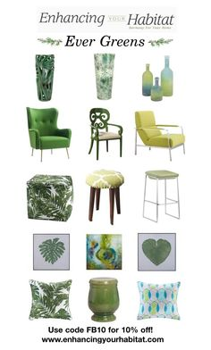"""Enhancing Your Habitat - Green Decor"" by sierraday ❤ liked on Polyvore featuring interior, interiors, interior design, home, home decor, interior decorating, GREEN, Home, house and pinterest"
