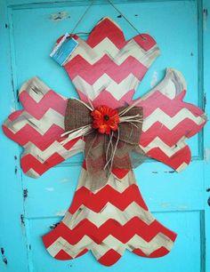 Distressed Vintage Wooden Cross Door Hanger, Fall Door Hanger