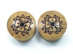 Custom Handmade Organic Flower Wood Plugs -- by ULEKstore, $19.95