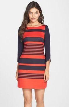 Eliza J Stripe Ponte A-Line Dress