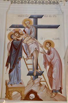 Descent from the Cross by Anton & Ekaterina Daineko Byzantine Icons, Byzantine Art, Religious Icons, Religious Art, Greek Icons, Church Icon, Roman Church, Christian Artwork, Religious Paintings