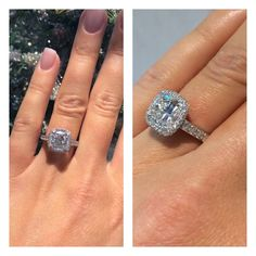 """The worlds most brilliant cushion cut! Harry Kotlar's """"Artisan"""" style diamond engagement ring is breath taking. Discover more @harrykotlar at TWO by London Americana Manhasset. #twobylondon #americana #diamond #harrykotlar #cushioncut #artisan #style #love #beautiful #engagement #ring #ringoftheday #beautiful #wedding"""
