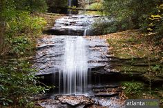 Hike the two mile Desoto Falls Trail to a pair of waterfalls, Upper Lower Desoto Falls, in the Chattahoochee National Forest.