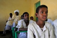 School students in the village of Hamesh Koreb, Sudan. The area was the stronghold of the Eastern Front, who were allied to the Southern forces against the Government in Khartoum during the country's civil war. [Photo: J.B. Russell / MAG, 2011]