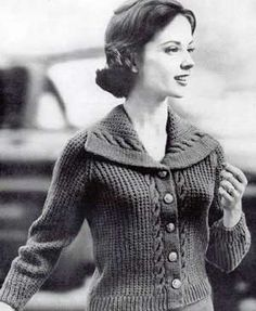 Free vintage cardigan sweater knitting pattern - love the collar!