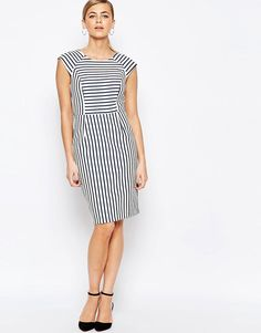 Image 4 of Oasis Stripe Tailored Pencil Dress