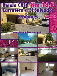 Vendo Casa Km 18.5 Carretera a El Salvador Fraijanes VC 562 3 Dormitorios 3.5 Baños 4+ Parqueos sala familiar, jardin, antesala o estudio, cul-de-saq, condominio con garita seguridad 24/7, salon social, cableado subterraneo, facil acceso a Carretera. Venta $200,000 Visitas 4222-1612 5300-2536 5184-4109 www.inmueblesonlinegt.tk anaurrutia@live.com en Facebook Bienes Inmuebles GT