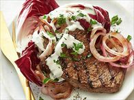 Marinated Flank Steak with Blue Cheese Sauce Recipe : Ellie Krieger : Food Network