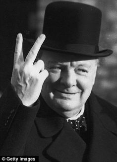 Inspiration for the Gesture made by the Baroness? Winston Churchill was famed for his 'V for victory' gesture.