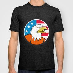 American Bald Eagle Head Angry Flag Circle Cartoon  T-shirt. Illustration of an american bald eagle head angry looking to the side set inside circle with usa flag stars and stripes in the background done in cartoon style.  #illustration #AmericanBaldEagle