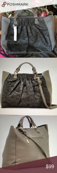 """BRANWEN LARGE TOTE-FAUX LEATHER BRANWEN LARE TOTE-DUAL ROLLED TOP HANDLES-DETACHABLE ADJUSTABLE SHOULDER STRAP-TOP ZIP CLOSURE-GATHERED FRONT TEXTURED DESIGN-APPROX-16"""" WIDE-13.5 HIGH-4"""" DEEP-4"""" HANDEL DROP-STRAPS 12-24""""-ONE ZIPPER POCKET AND TWO OPEN POCKETS ON THE INSIDE Branwen Bags Totes"""