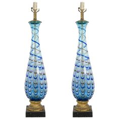 A Mid Century Pair of Blue Barovier and Toso Murano Table Lamps | From a unique collection of antique and modern table lamps at http://www.1stdibs.com/furniture/lighting/table-lamps/