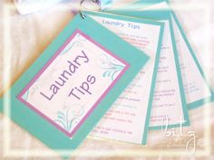Laundry Tip cards for the college kid, new homeowner or anyone starting out! Free printables on blog Bitz of Me: Laundry Essentials!!