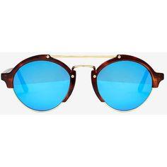 Illesteva Milan II Mirrored Lenses Havana Sunglasses ($300) found on Polyvore featuring accessories, eyewear, sunglasses, blue, blue lens aviators, round sunglasses, blue mirrored sunglasses, aviator sunglasses and mirror lens sunglasses