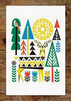Folk Deer 2 Woods Trees Forest Scandinavian Folk by groovygravy