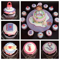Doc Mcstuffins cake and cupcakes! Party Sweets, Party Desserts, Party Cakes, Kid Cupcakes, Baking Cupcakes, Cupcake Cakes, Doc Mcstuffins Birthday Cake, Cake Design Inspiration, Cupcake Tutorial