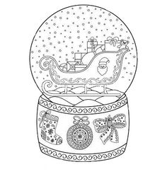 Snow Globe Coloring Page Lovely toy Glass Snow Globe with Santa Sleigh Coloring Book Page Poppy Coloring Page, Cute Coloring Pages, Free Coloring, Adult Coloring Pages, Coloring Books, Christmas Snow Globes, Christmas Colors, Christmas Art, Merry Christmas Coloring Pages