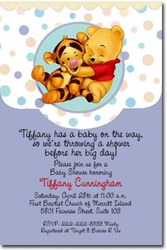 Baby Winnie The Pooh Baby Shower Invitations | Createphotocards4u   Digital  Art On ArtFire