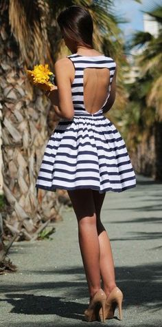 Black & White Summer Dress with Cut Out Back fashion stripes high heels summer fashion cut out street style summer dress short dress