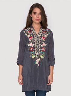48ad878ae38e The Johnny Was Plus Size EYELET FLORAL TUNIC offers a fresh take on our  signature embroidered tunic top thanks to a bold