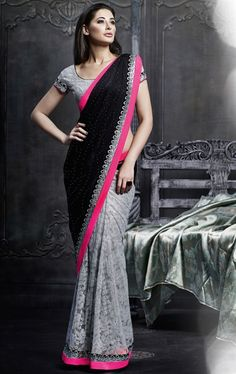 Picture of Bewitching Black and Slate Gren Designer Bollywood Saree