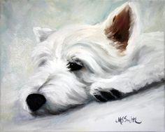 PRINT Westie West Highland Terrier Dog Art Oil Painting / Mary Sparrow Smith