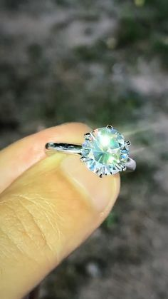 Solitaire Round Moissanite Engagement Ring, 3.5ct Round Moissanite 6 Prong Setting on 14K White Gold, Bridal Ring, Moissanite Ring