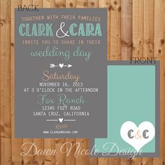 5x7 Whimsical mint coral and slate grey or white wedding invitation (digital and printed versions available)