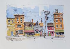 Street Scene, 5x7 Fine Art Original Watercolor Peter Sheeler buildings city town #Realism