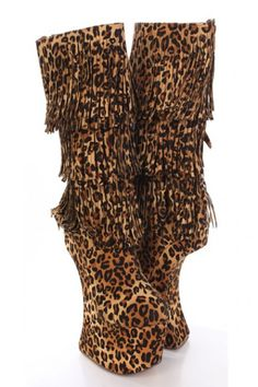 #Leopard Faux Suede Fringe Tiered Curved Wedge Boots