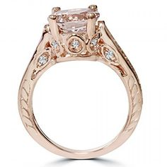 2 Carat Morganite & Diamond Vintage Engagement Ring 14K Rose Gold